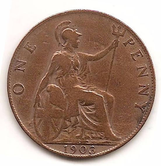 Moneda Inglaterra Gran Bretaña One 1 Penny Año 1903 Km 794.2