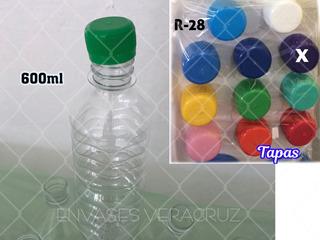 Botella Para Agua Envase 600ml Paq.50 Pzas Con Tapas