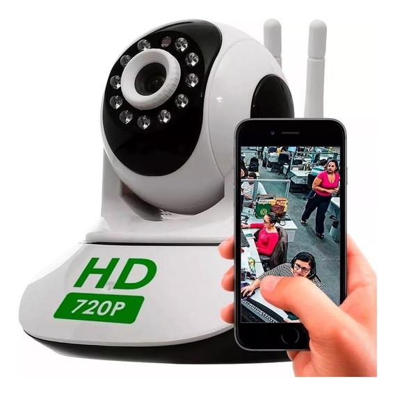Câmera Segurança Ip Hd 720p Sem Fio Wifi P2p Cartão Sd Áudio