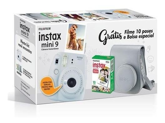 Kit Instax Mini 9 Camera + Bolsa + 10 Filmes Branco Gelo