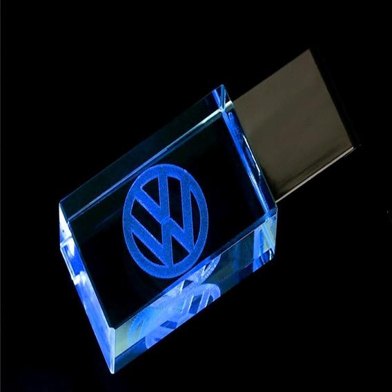 Pen Drive 32gb Cristal Led Volkswagen Azul + Caixa Portátil
