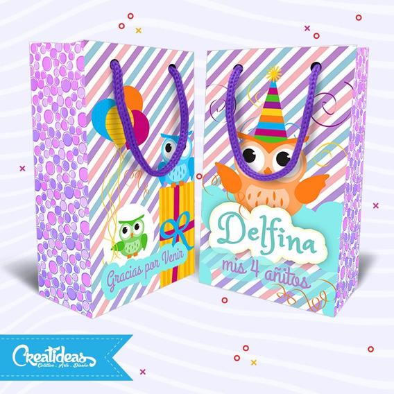Lechuzas Violetas Bolsitas Personalizadas Pack X10