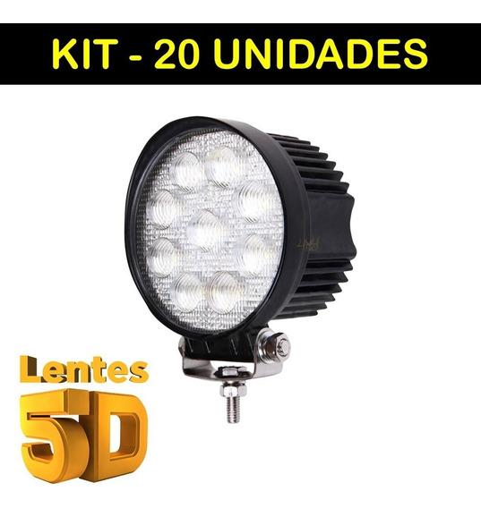 Kit 20 Farol Milha Led Redondo 27w 5d Universal 11cm 12v 24v