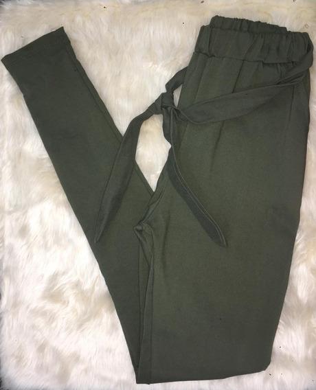 Babucha Mujer Con Lazo Bengalina Color Verde Militar
