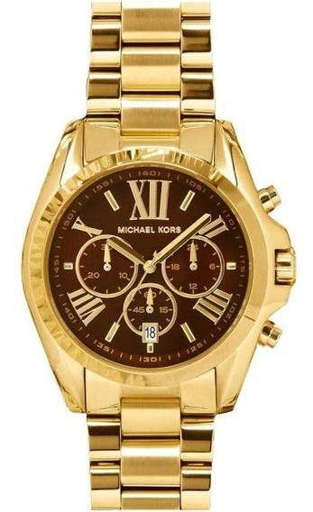 Relógio Luxo Michael Kors Bradshaw Mk5502 Orig Chron Ouro
