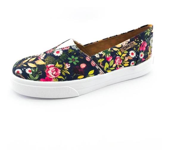 Tênis Slip On Quality Shoes Feminino 002 Floral Azul Marinho