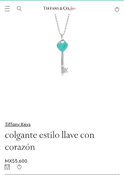 Dije Tiffany & Co Colgante Estilo Llave Con Corazon Plata