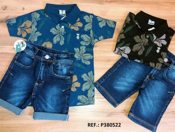 Camiseta Polo Floral + Bermuda Jeans Com Regulagem No Cós