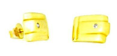Brinco Quadrado Com Diamante Em Ouro 18k - Ov/br711