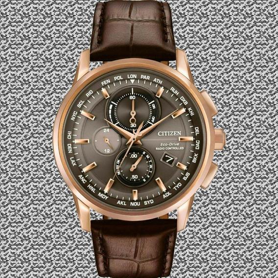 Relógio Masculino Citizen At8113-04h Eco-drive . Vidro De Safira . 43mm . Couro Legítimo . 100m . Calendário Perpétuo