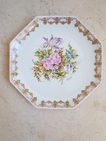 Plato Octogonal Porcelana Francesa Limoges Pintado A Mano