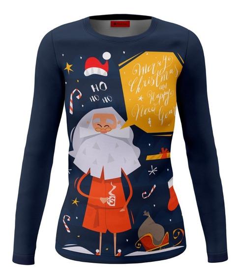 Playera Dama Dry Fit Full Print Santa Navidad Hohoho