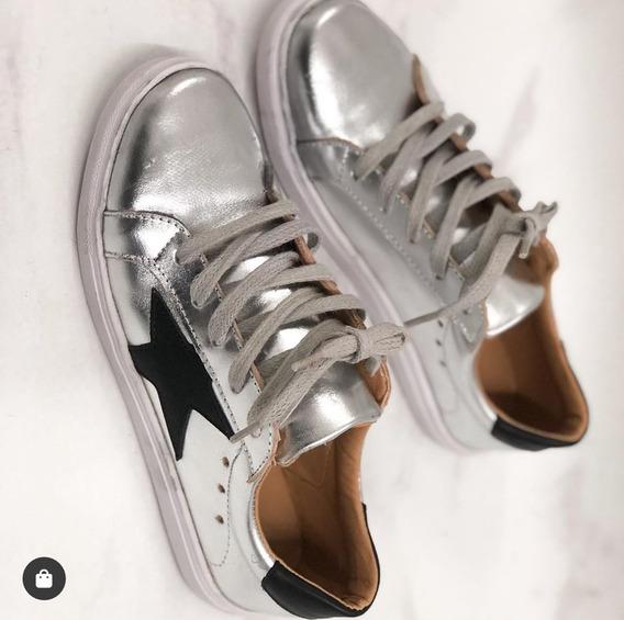 Zapatillas Mujer Urbanas Star Plateadas