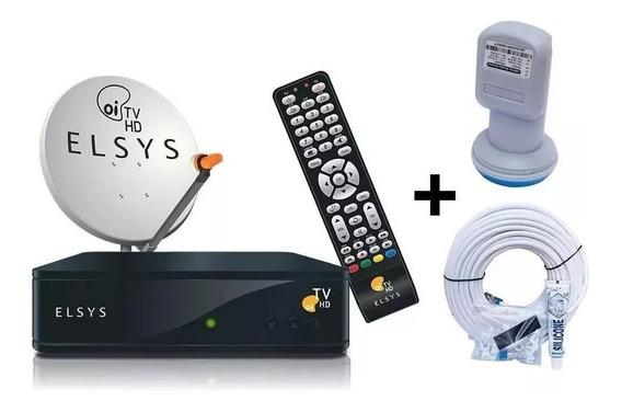 Kit Elsys Receptor E Antena 60cm Oi Tv Livre Hd Lnbf E Cabo
