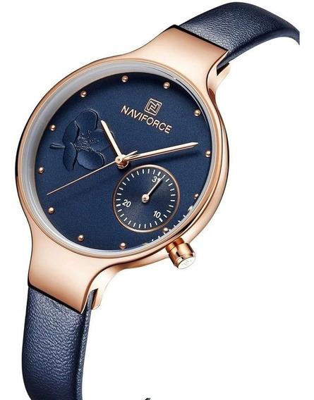 Reloj Para Dama Naviforce Original Oro Rosa Fechador Nf5001