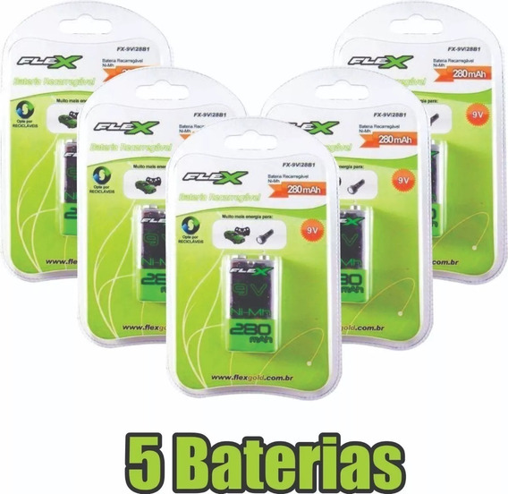 Kit 5x Baterias Recarregável 9v 280mah Flex Original