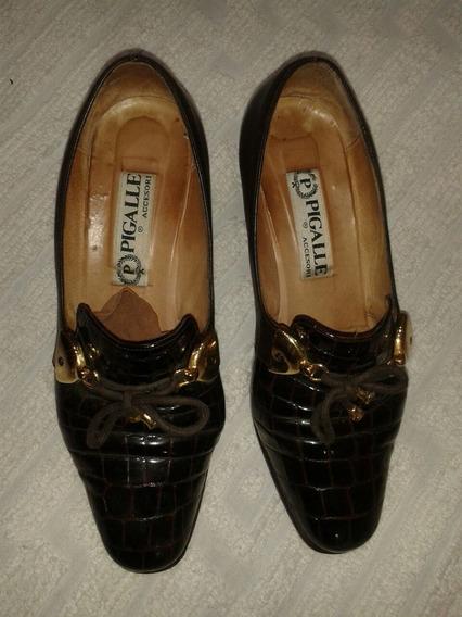 Hermosos Zapatos N. 40. De Cuero Con Reptil