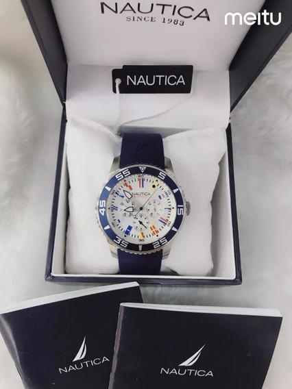 Relogio Bbv8798 Nautica Azul Mostrador Branco Com Caixa