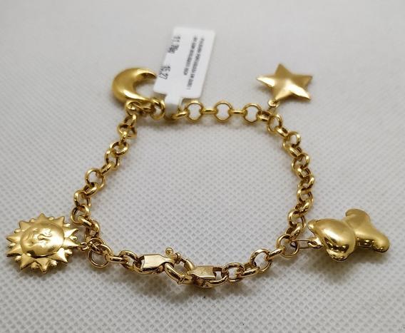 Pulseira Ouro 18k Portuguesa Com Berloque 19cm 11,70g