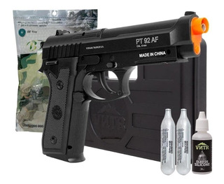 Pistola Airsoft Pt92 Semi Automática Full Metal + Case + Bbs