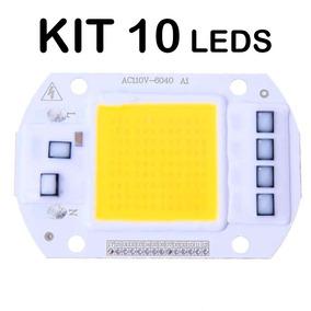 Kit 10un Chip Led Cob 50w 6000k 4000lm Driver Integrado 110v