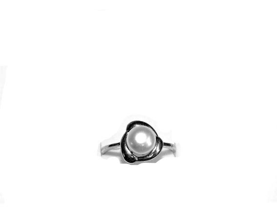 Anillo Solitario Perla Botón Cultivada Color Blanca # 7