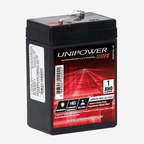 Bateria Selada 6v 4,5ah Unipower Nova - Modelo Up645seg
