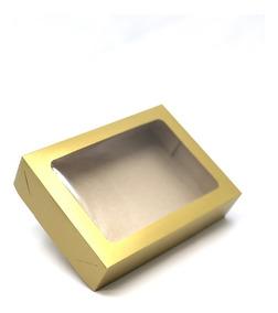 60 Caixas De Presente Ouro 22x16x5 Visor / Tampa E Fundo