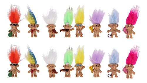 Imagen 1 de 5 de Cromado 16 Piezas Muñeca Suerte Troll Mini Figuras De