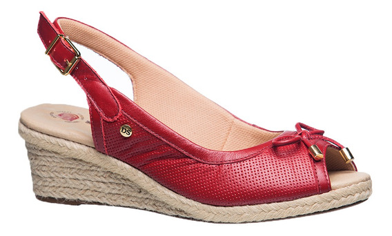 Sandália Feminina Anabela Em Couro Carmim 660 Doctor Shoes