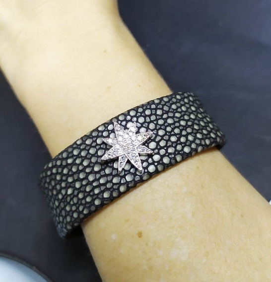 Je4-bracelete Couro Zirconias Rodio Kessel