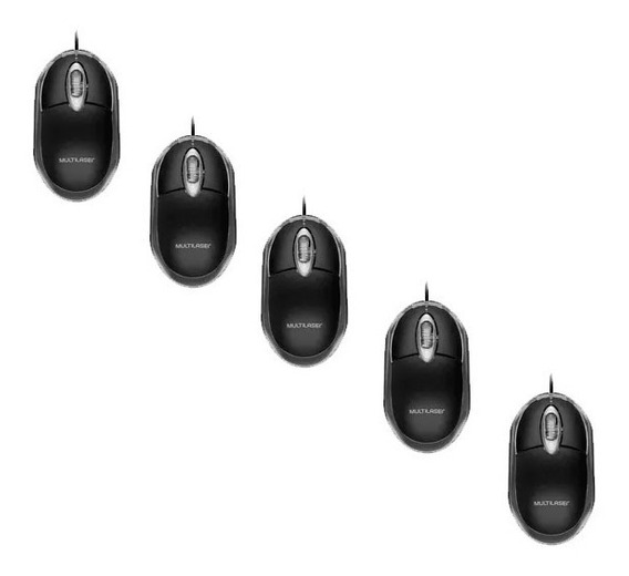 Kit 5 Mouse Com Fio Usb Multilaser Mo179