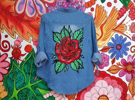 Camisa Jean Celeste Dama Rosa Tradicional Pintada Mano