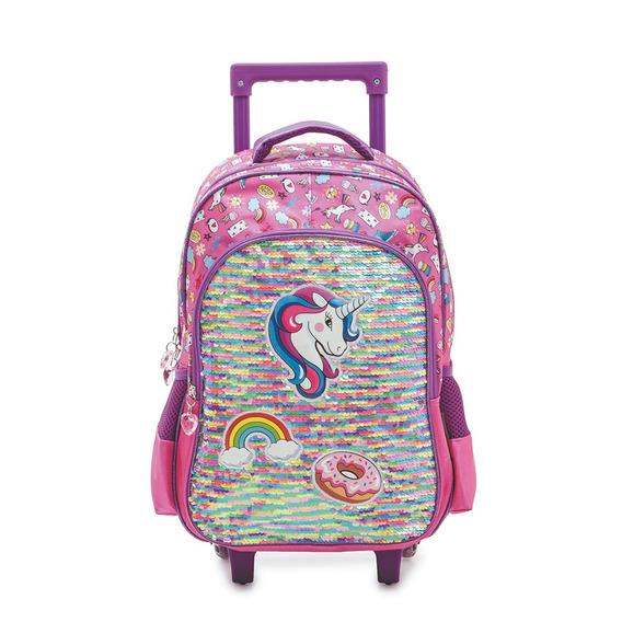 Mochila Escolar Con Carrito Unicornio Reversible Multicolor
