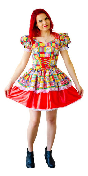 Vestido Festa Junina Caipira Adulto Luxo Armado