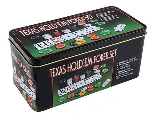 Juego Set De Poker Fichas Numeradas Tapete De Blackjack