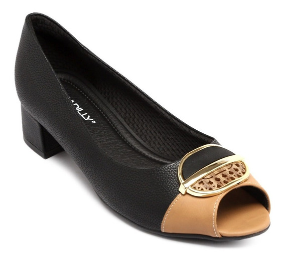 Peep Toe Piccadilly Relax Preto/tan 114006