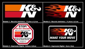 Kit Com 4 - Adesivo K&n - Ken - Kn - Filtro Esportivo - Imp