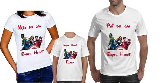 Kit 3 Camisetas Super Heróis