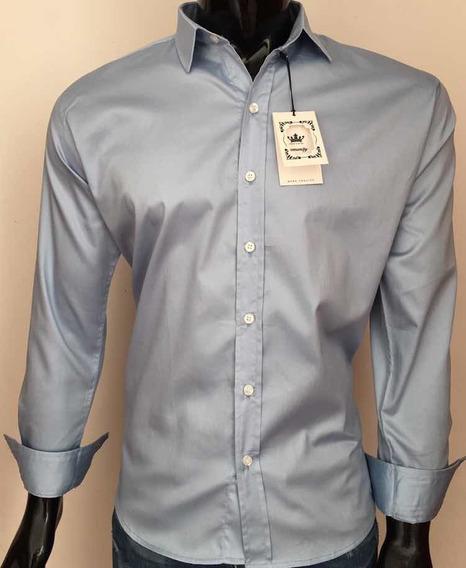 Camisa Manga Larga Satinada Azul Cielo 100% Algodón