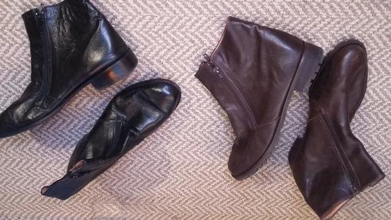 Botas Febo De Cuero Cortas Con Cierre Lateral Marron/negra