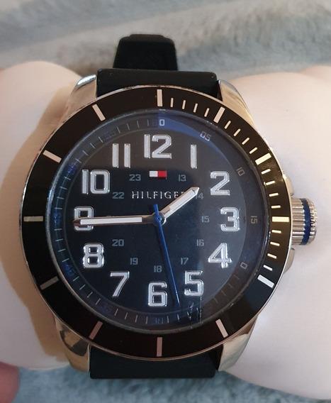 Relógio Tommy Hilfilger Masculino Pulseira Em Borracha Preta