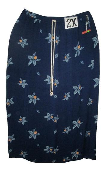 Falda Azul Marino Orquidea Estampada Talla 2x Mossimo