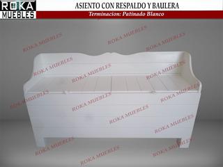 Asiento Con Respaldo Y Baulera Baul De Madera 1.20 Patinado