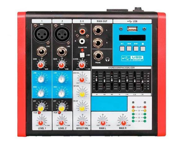Mesa De Som Compacta Soundvoice Mc4 Eux C/ Efeito - Ms0058