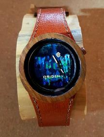 Relógio Masculino De Madeira E Pulseira Em Couro - Artesanal