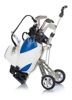 Mini Bolsa Golf P/escritorio Set Plumas Regalo Azul Blanco