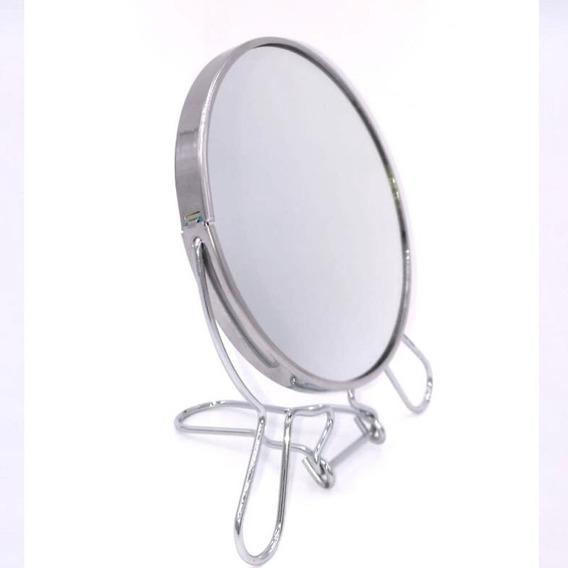 Espejo Pie Redondo 2 Caras Maquillaje 12cm Diametro