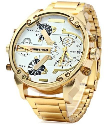 Relógio Shiweibao Dourado Ouro Importado Masculino Aço Inox