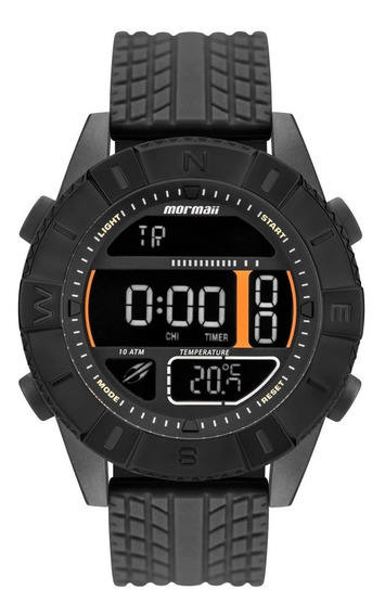 Relógio Masculino Mormaii Action Mo5334aa/8p Silicone Preto